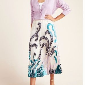 NWT Anthropologie Rochelle Pleated Applique Skirt